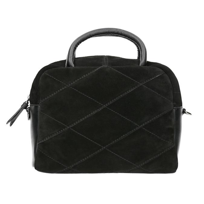 Mała skórzana torebka z paskiem bata, czarny, 963-6133 - 26