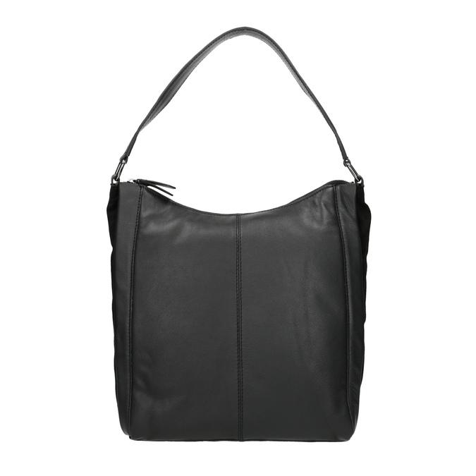 Czarna skórzana torebka w stylu Hobo bata, czarny, 964-6254 - 26