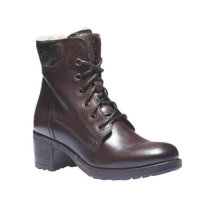 Skórzane sznurowane buty z ociepliną bata, brązowy, 694-4100 - 13