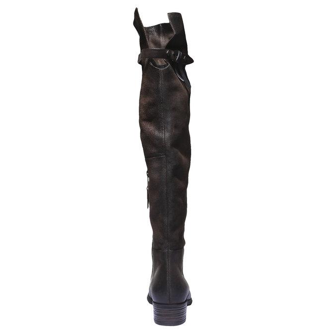 Skórzane kozaki bata, brązowy, 596-4107 - 17