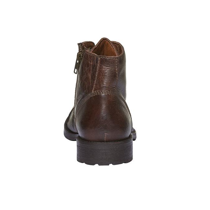 Skórzane botki z charakterystycznymi przeszyciami bata, brązowy, 894-4125 - 17