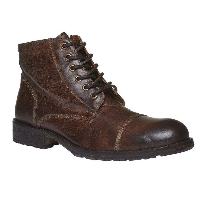 Skórzane botki z charakterystycznymi przeszyciami bata, brązowy, 894-4125 - 13