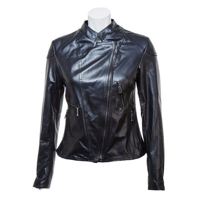 Skórzana kurtka damska zzamkami bata, czarny, 974-6162 - 13