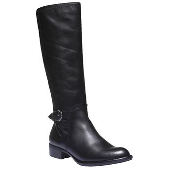 Skórzane kozaki ze sprzączką bata, czarny, 594-6115 - 13