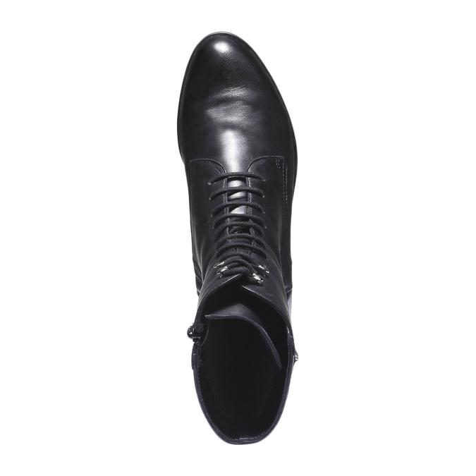 Skórzane botki z przeszyciem bata, czarny, 594-6160 - 19