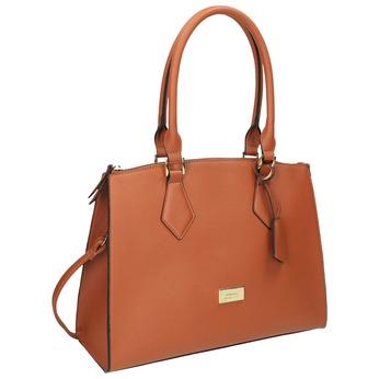 Brązowa torba damska ze sztywnymi uchwytami bata, brązowy, 961-3646 - 13