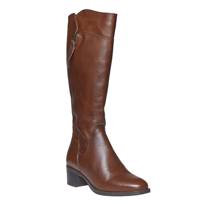 Damskie skórzane kozaki bata, brązowy, 694-4114 - 13