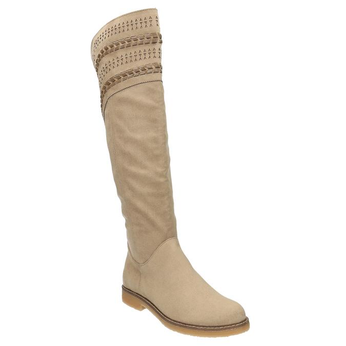 Kozaki za kolana bata, beżowy, 599-2602 - 13