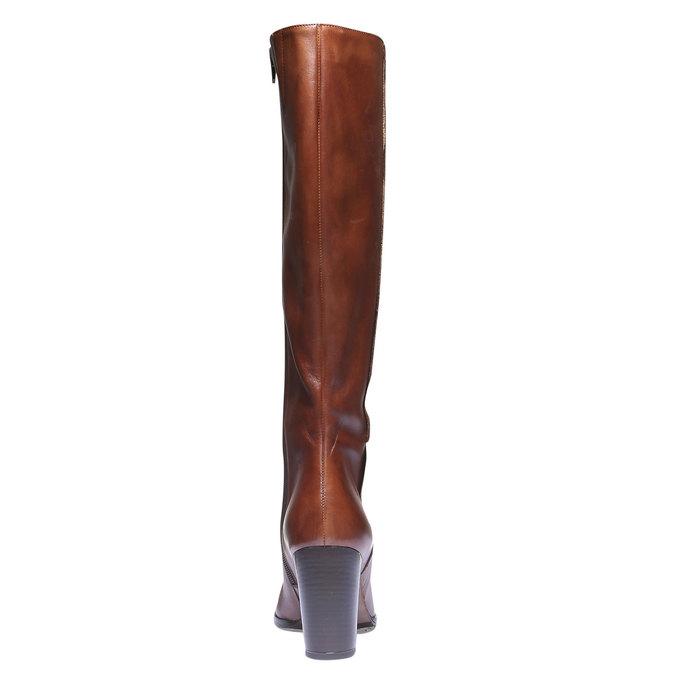 Skórzane kozaki na obcasie bata, brązowy, 794-3603 - 17
