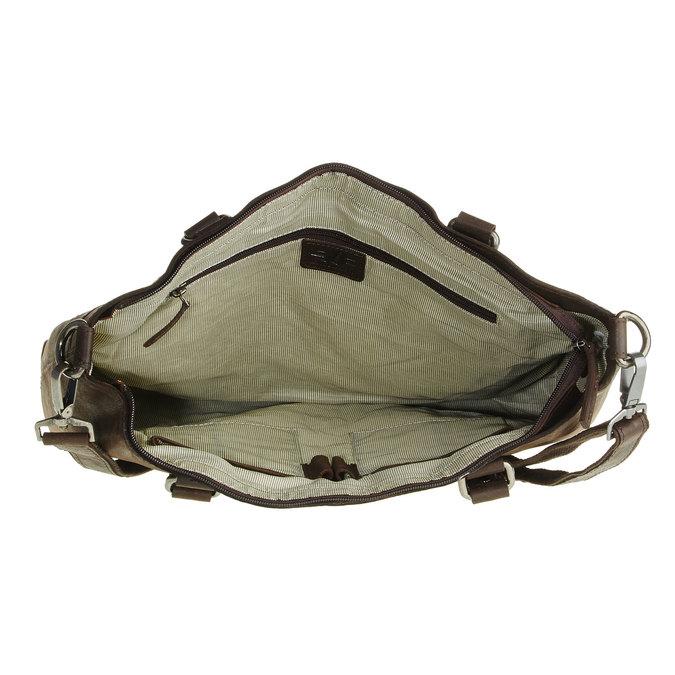 Skórzana torebka z odpinanym paskiem bata, brązowy, 964-4132 - 15