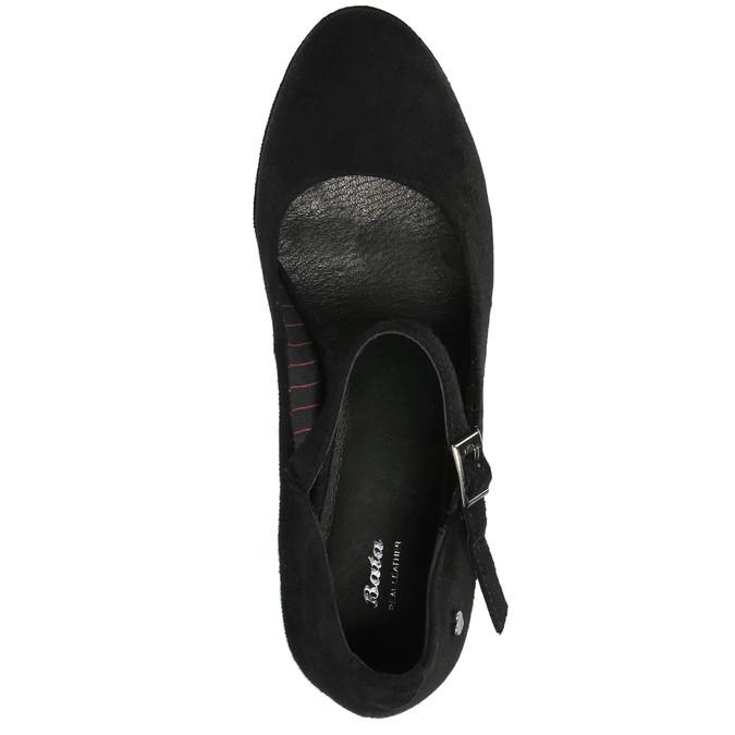 Czarne czółenka zpaskiem na podbiciu bata, czarny, 729-6601 - 19
