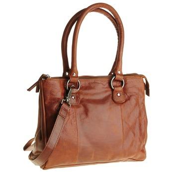 Skórzana torebka z odpinanym paskiem bata, brązowy, 964-3123 - 13