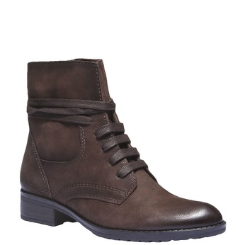 Sznurowane buty damskie ze skóry bata, 596-2100 - 13