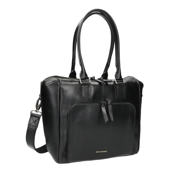 Skórzana torebka z odpinanym paskiem royal-republiq, czarny, 964-6039 - 13