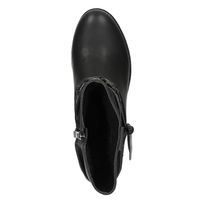 Czarne kozaki do kostki bata, czarny, 591-6610 - 19