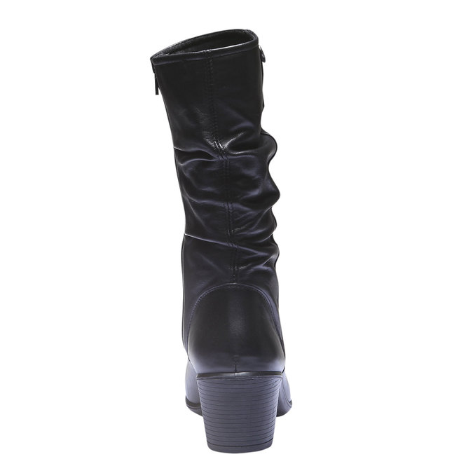 Skórzane kozaki bata, czarny, 694-6112 - 17