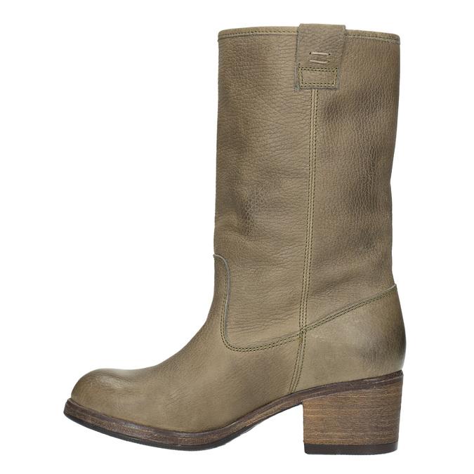 Damskie kozaki kowbojki ze skóry bata, brązowy, 696-2607 - 19