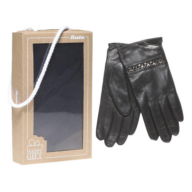 Skórzane damskie rękawiczki w pudełku upominkowym bata, czarny, 904-6121 - 13