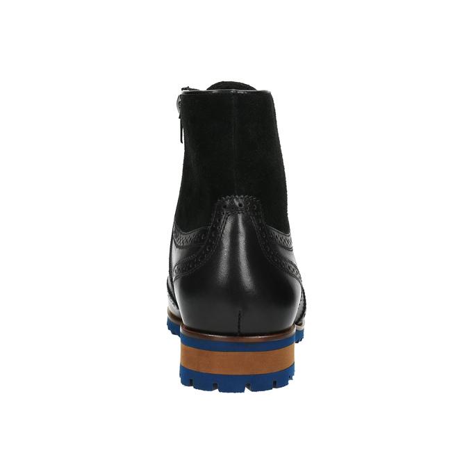 Skórzane buty za kostkę zniebieską podeszwą conhpol, czarny, 894-6682 - 17