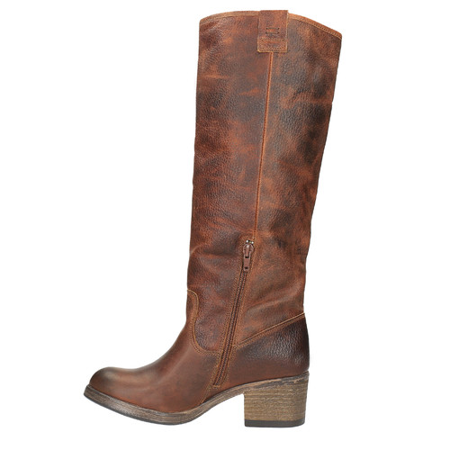 Wysokie skórzane kozaki w kowbojskim stylu bata, brązowy, 696-3608 - 19