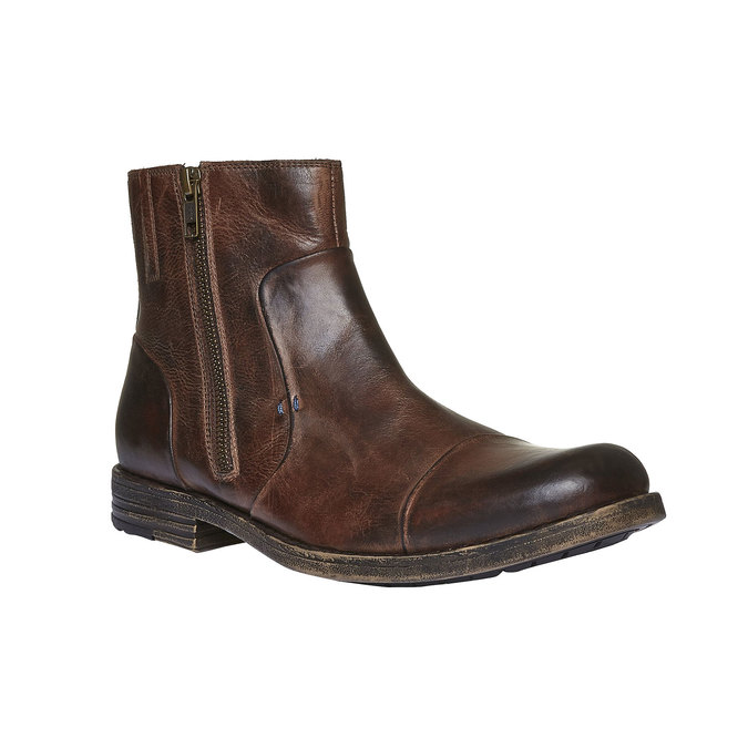 Skórzane botki z zamkiem bata, brązowy, 894-4131 - 13
