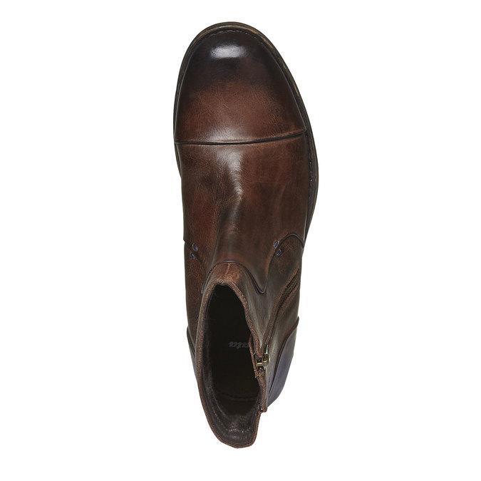 Skórzane botki z zamkiem bata, brązowy, 894-4131 - 19