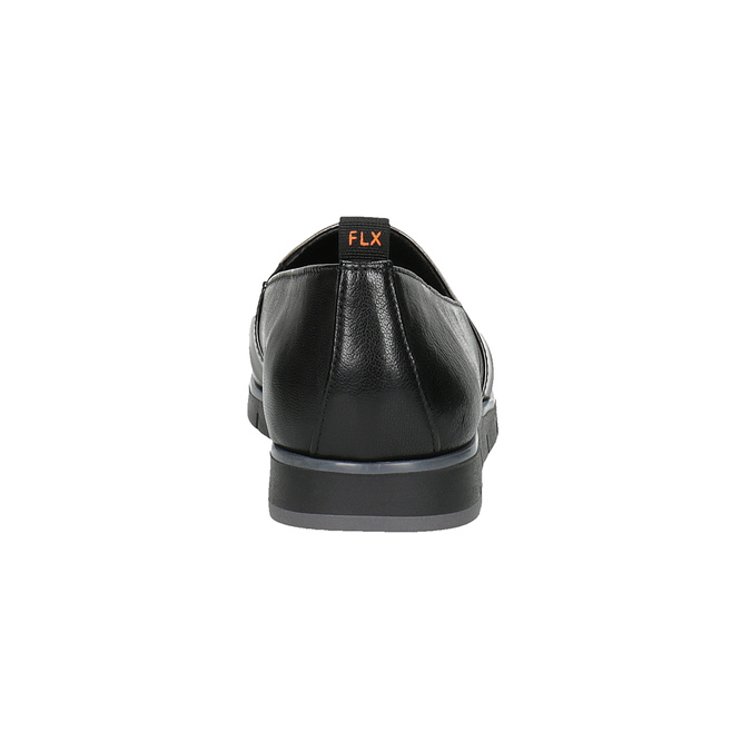 Czarne skórzane slip-on damskie flexible, czarny, 514-6252 - 17