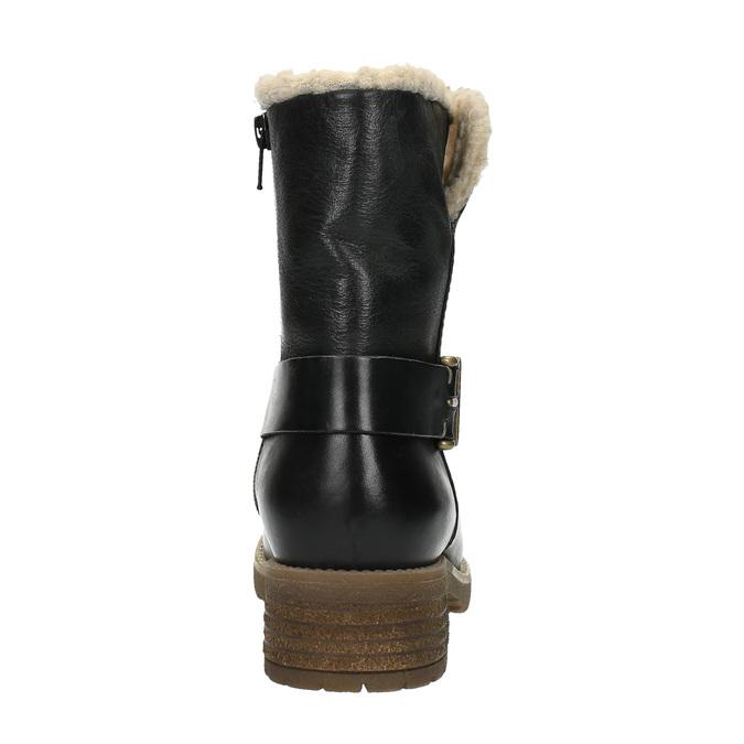 Damskie buty z futerkiem bata, czarny, 594-6609 - 17