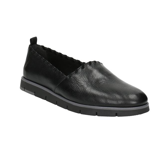 Slip-on damskie ze skóry, z lamówką flexible, czarny, 514-6257 - 13