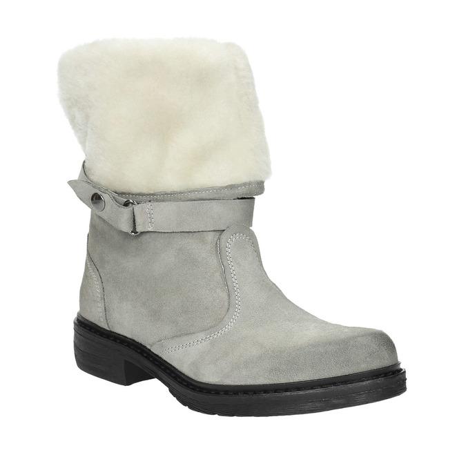 Skórzane buty zimowe zfuterkiem manas, szary, 596-2601 - 13