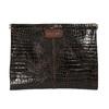 Skórzana kopertówka z krokodylim wzorem vagabond, brązowy, 966-4002 - 19
