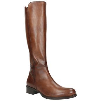 Damskie skórzane kozaki bata, brązowy, 594-3586 - 13