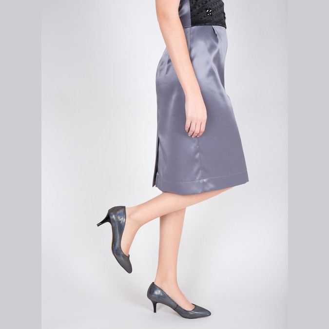 Czółenka damskie z kolorowymi refleksami bata, 629-0631 - 18