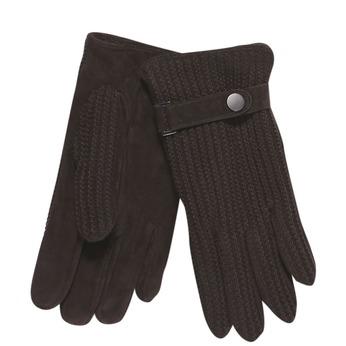 Męskie rękawiczki z dzianiną bata, brązowy, 909-4295 - 13