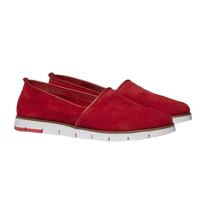Skórzane buty Slip-on z perforacją flexible, czerwony, 513-5200 - 26