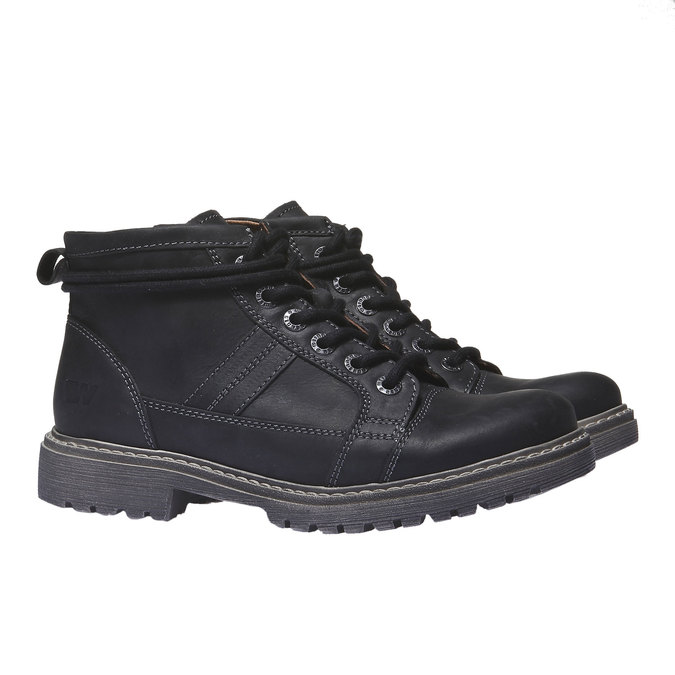 Skórzane buty z oryginalnymi sznurówkami weinbrenner, czarny, 594-6409 - 26