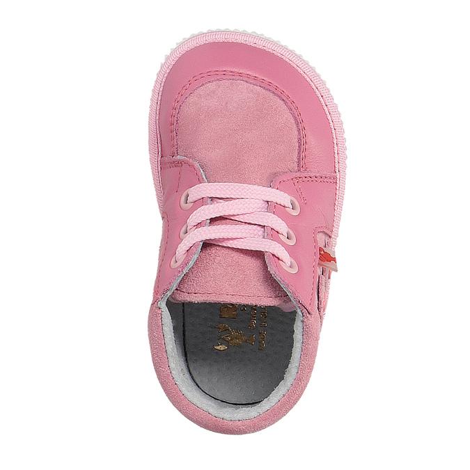 Dziewczęce skórzane kapcie, różowy, 104-5001 - 19