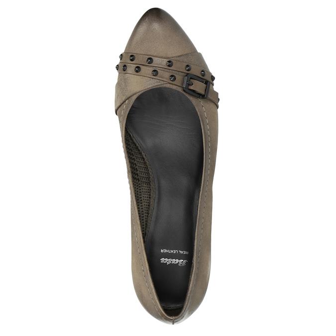 Czółenka damskie ze skóry bata, brązowy, 626-2600 - 19