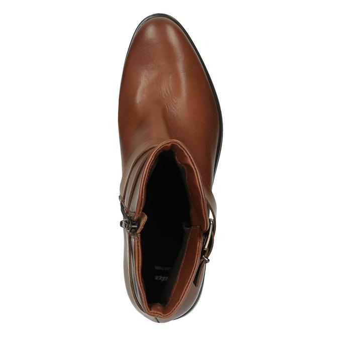Buty ze skóry za kostkę z klamrą bata, brązowy, 594-4602 - 19