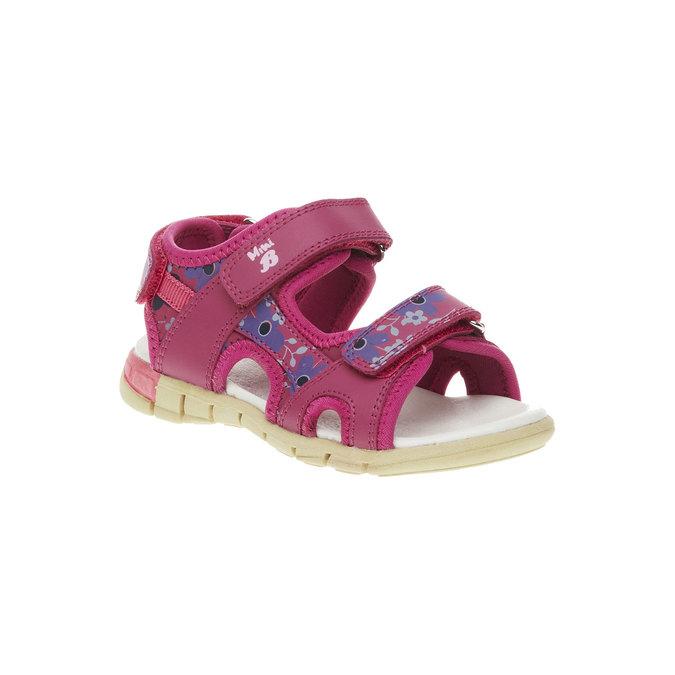 Skórzane dziewczęce sandały mini-b, różowy, 369-5500 - 13