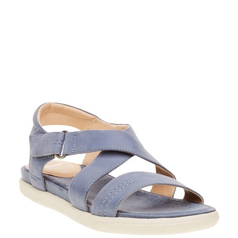 Damskie skórzane sandały bata, niebieski, 564-9351 - 13