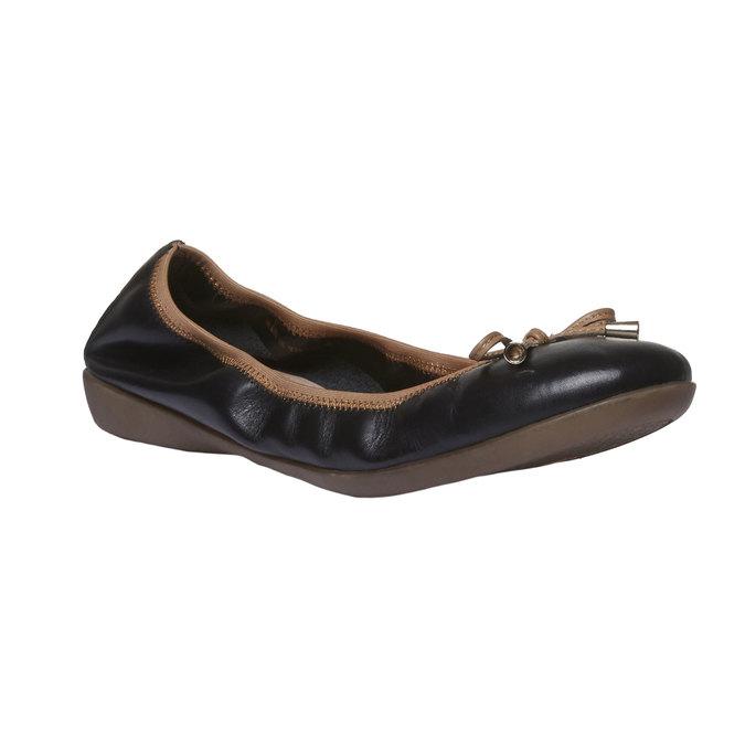 Czarne skórzane baleriny bata, czarny, 524-6485 - 13