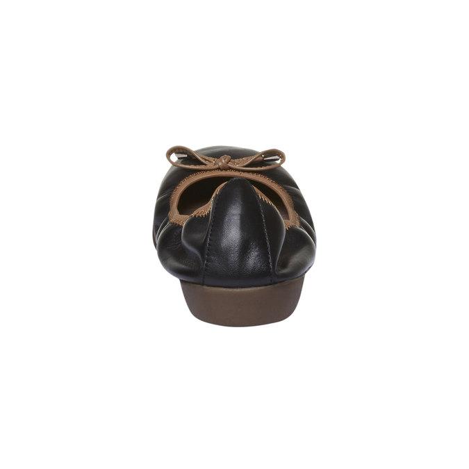 Czarne skórzane baleriny bata, czarny, 524-6485 - 17