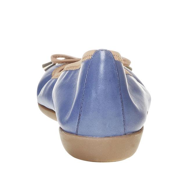 Damskie skórzane baleriny bata, niebieski, 524-9485 - 17