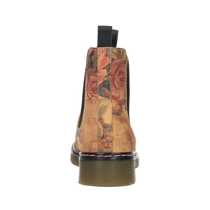 Skórzane Chelsea Boots z kwiatowym wzorem bata, brązowy, 596-3620 - 17