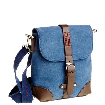Męska torba Crossbody z klapą bata, niebieski, 969-9284 - 13