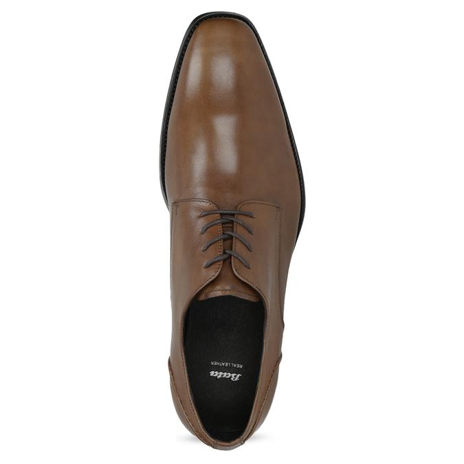 Brązowe skórzane półbuty męskie typu angielki bata, brązowy, 826-3646 - 17