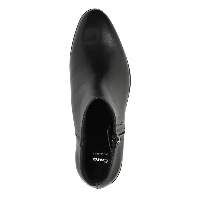 Czarne skórzane botki z suwakami bata, czarny, 594-6518 - 19