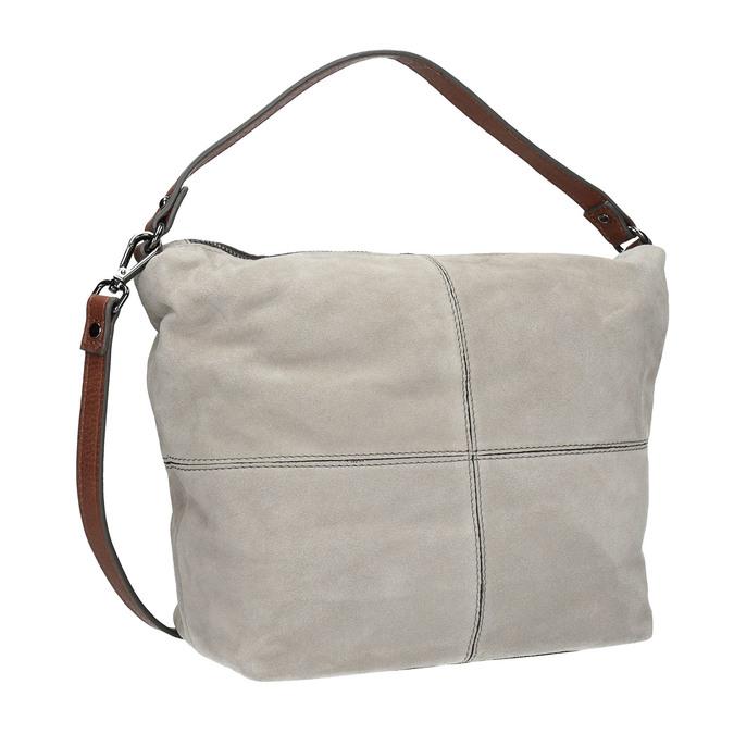 Skórzana torba wstylu hobo bata, szary, 963-2130 - 13