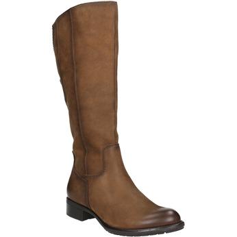 Brązowe skórzane kozaki bata, brązowy, 596-4604 - 13